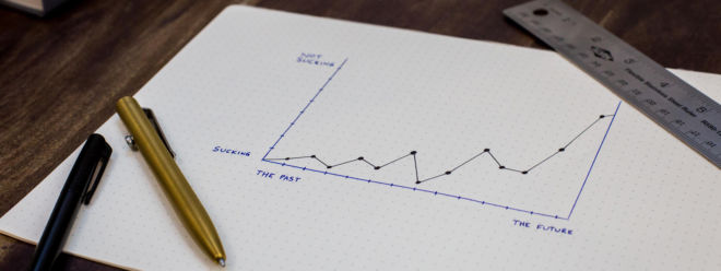 A hand drawn graph pointing in a positive trend towards the future.