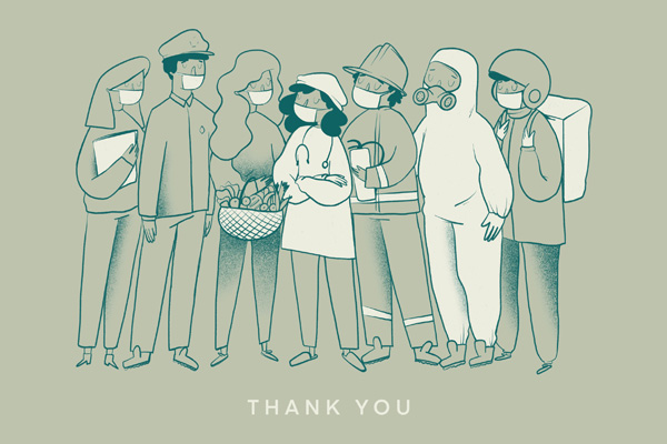 """Illustration of key workers wearing masks and medical equipment. The caption reads """"Thank you""""."""