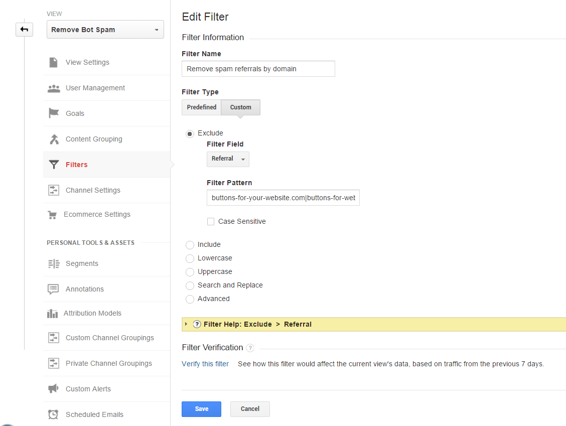 Google Analytics exclude referral spam