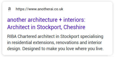Google listing for Another Architectures and Interiors.