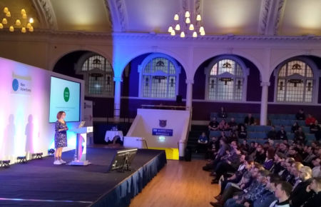 Clare Sutcliffe MBE talking about Code Club at New Adventures 2019.